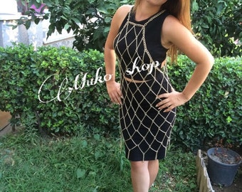 Gold Chain Dress, Chain Dress, Dress Body Chain, Body Chain, Body Jewelry