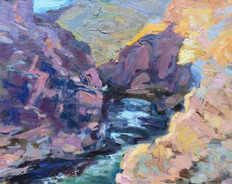cliffs and rivers Oil Painting Original Art Colorado Rocky Mountain streams impressionism