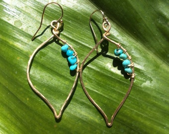 Maile leaf turquoise earring