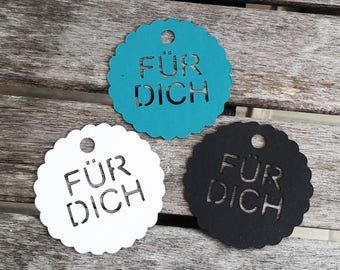"10 tags/gift tag ""for you"" other languages possible"