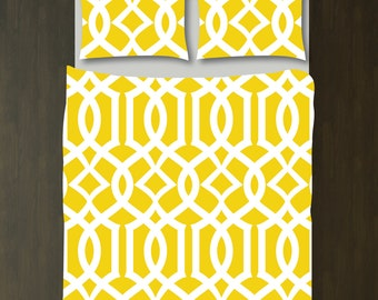 Custom Imperial Trellis Duvet Bedding Set-Yellow and White-Customize Colors You Want-Daybed-Twin XL-Full/Queen-King-Preppy Home Decor-Size