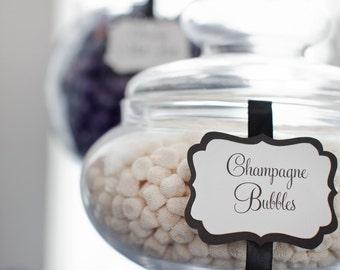 Elegant Custom Candy / Dessert Buffet Jar Signs - Set of 10