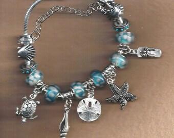 Ocean European Bracelets, Seashore European Bracelet, Sealife European bracelet, Beach European Bracelet, Ocean Bracelet, Seashore Bracelet