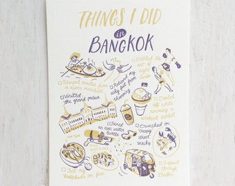 Things I Did in Bangkok Letterpress Postcard