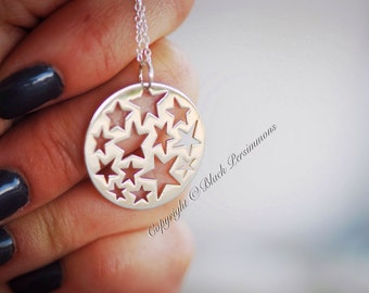 My Sun and Stars Necklace - Solid 925 Sterling Silver Cutout Star Pendant - Insurance Included