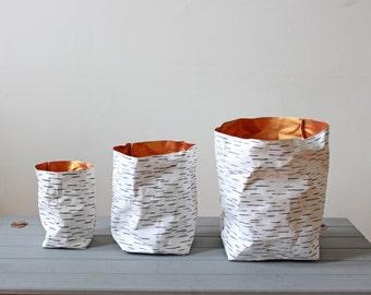 Paper bag, washable paper, Birch Bark design, Nordic Style, Natural, Rustic, desk organizer, planter, wedding decor, Scandinavian, eco