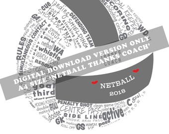 A4 Digital Download Version Only ' Typograpgic Netball Coach's Gift'