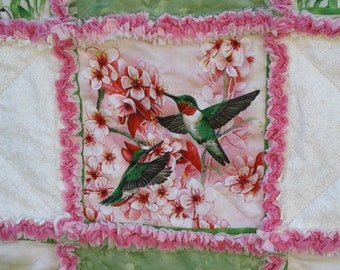 Hummingbird Flower Green and Pink Baby Rag Quilt, Security Blanket, Wall Hanging
