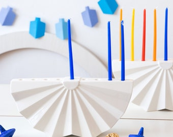 Hanukkah Menorah,Modern geometric Judaica,White ceramic Contemporary Judaica Chanukah &wedding gift, hanukkah decorations