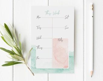Weekly Notepad Planner - Pink And Blue Watercolor Notepad - Weekly To Do List Planner Notepad - Weekly Calendar Pad - Student Desktop Pad