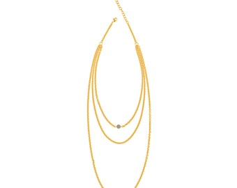 Layered Gold Chain Druzy Necklace - Yellow Gold Chains - Silver Druzy - Long Multi Chain Necklace - Long Adjustable Length Necklace
