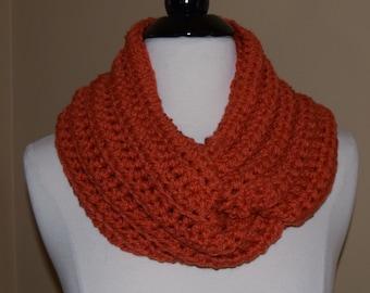 Orange Crochet Infinity Scarf