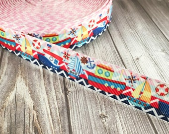 Nautical ribbon - Sea ribbon - Sail boat ribbon - Tug boat ribbon - Anchor ribbon - Pink blue - Grosgrain ribbon - Themed ribbon - Chevron