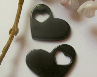 heart shaped 2 bead pendant plastic