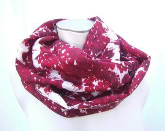 Scarf, Women, red Scarf, Acethatsilkscarf, red white Loop, handmade Loop, Flowerscarf