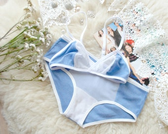 WHITE AND BLUE lingerie set ~ Blue lingerie set, something blue, white and blue panties, white bikini, bralette and bikini, something blue