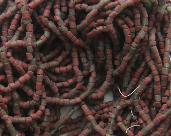 Antique Seed Beads - Size 10/0 Greenhearts Brick Red and Translucent Green Stripes, Huge Hank