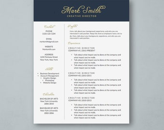 Professional Resume Template for Word - DIY Printable - Modern and Creative CV Design - MS Word *Instant Download*