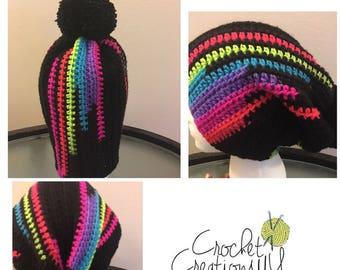 Crochet Colorful Pom Pom Hat