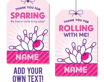 EDITABLE INSTANT DOWNLOAD Pink Bowling Party Favor Tags - Editable, printable birthday party favor tags