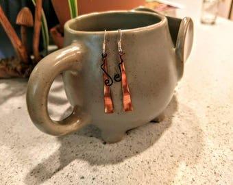 copper curly cue dangles