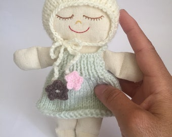 GREEN NEWBORN DOLL. Handmade