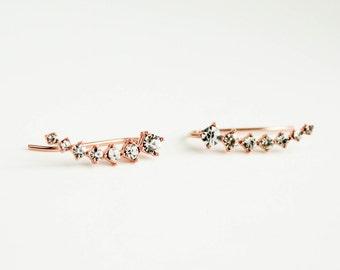 Rose Gold Ear Climbers, Ear Climbers, Ear Jacket, Rose Gold Ear Jacket, Rose Gold Earrings