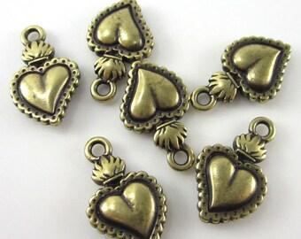 6 Brass Oxide Tierracast Sacred Heart Charms