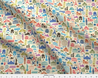 World Travel Fabric - Travel Icons By Sandityche - Travel Globetrotter Tourist Tourism Global Cotton Fabric By The Yard With Spoonflower