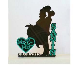 Dazzling Unique Wedding Cake Topper Silhouette with Name in Glitter, Glam, Bling - FREE Keepsake Display Base - Acrylic Cake Topper [CT18wg]