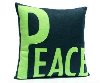 Peace Throw Pillow Cover Appliquéd in Navy and Green Eco-Felt 18 inches