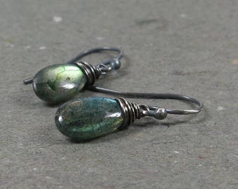 Green Labradorite Earrings Oxidized Sterling Silver Petite Minimalist Jewelry Gift for Her