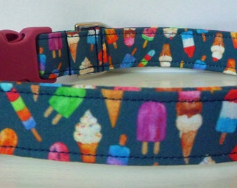 "Ice Cream Dog Collar-Summer Dog Collar-Food Dog Collar - Popsicle Dog Collar - Fun Dog Collar- Boy/Girl Dog Collar-""Brain Freeze"""