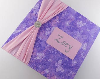 Girl Baby Book Girl Baby Photo Album Pink Purple Memory Scrapbook 4x6 5x7 8x10 Picture Journal Pregnancy Pink Purple Butterfly