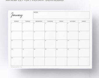 2018 Calendar Printable Pack | Monthly Breakdown and Organiser | A4 and Letter | Instant Download | Monday and Sunday