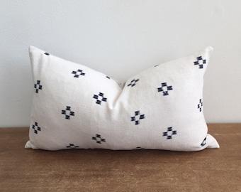 Vintage Blue and White Tribal Batik Cross Lumbar Pillow Cover // 11 x 19