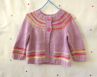Hand knitted baby cardigan, bamboo girls sweater with pretty stripes, knit sweater 6 months, baby knitwear, hand knit baby clothes