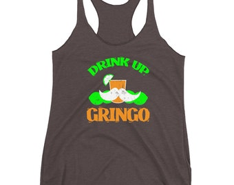 Drink Up Gringo Tank Top-Taco Shirt-Margarita Shirt-Tequila Tank-Fiesta Shirt-Cinco De Squatcho-Cinco De Mayo Tank-May 5th Shirt-Sasquatch S