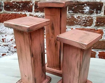 Coral Rustic Candle Stands, Farmhouse Candle Holders, Wooden Candle Stands Custom Made, Candle Stands Set of 3
