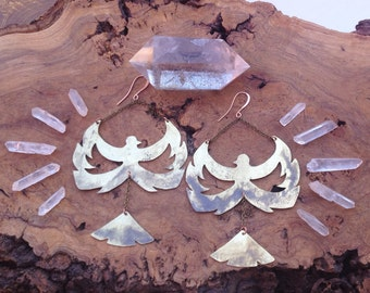 Phoenix Rising Exotic Metal Statement Earrings