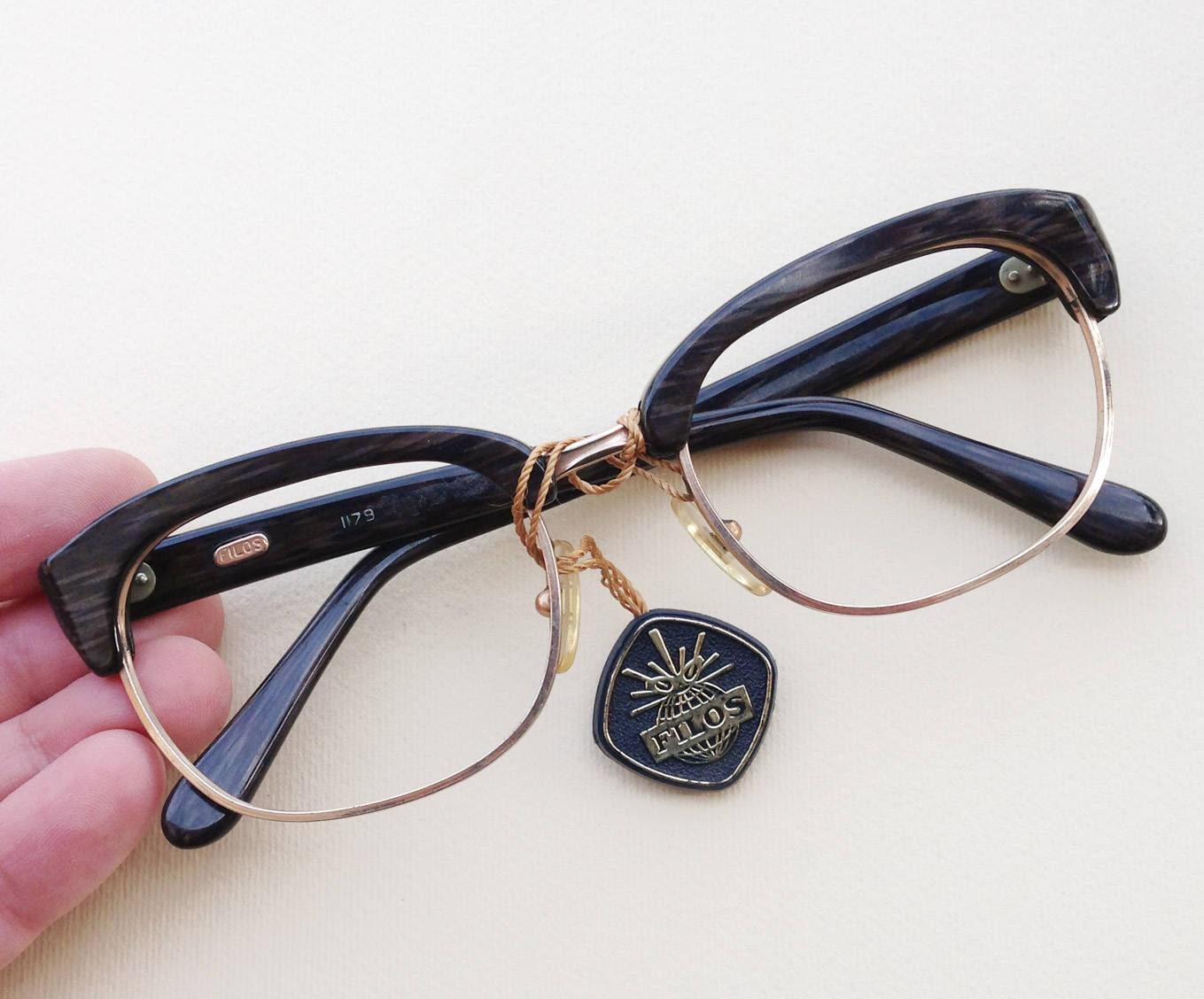 Filos 60er Jahre Brille / 1960er Jahre Vintage NOS Browline