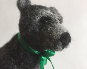 Clive The Needle Felted Grizzly Grey Bear Sculpture