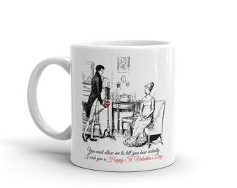 Valentine's Day | Pride and Prejudice Coffee Mug | Jane Austen Gifts  | Mr Darcy | Elizabeth Bennet | literary gift | book lover | Quote