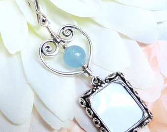 Wedding bouquet photo charm. Something blue bridal bouquet charm.Handmade Gift for the bride. Memorial picture frame w/blue stone and heart