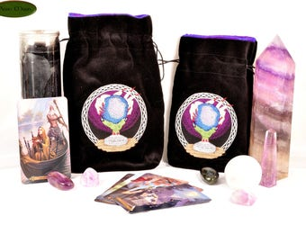 CLEARANCE*** The Crystal Ball - All Natural Cotton Velvet and Silk Tarot, Oracle, or Crystal bag