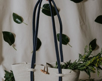 Cotton rope basket bag, shoulder bag, dark blue, natural, handmade