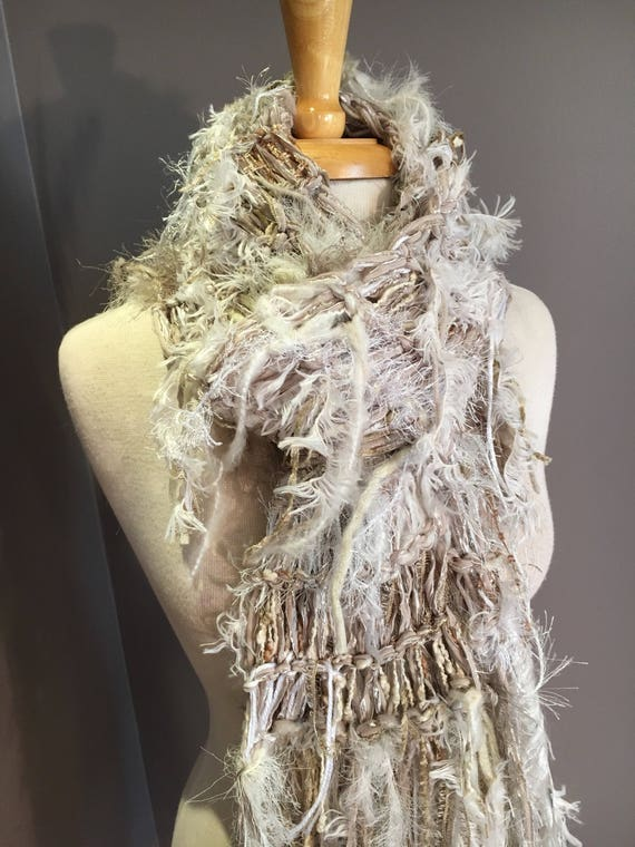 Knit Art Scarf, Textured Fringed Scarf with faux fur, Cream and Sugar, cream ivory gold and taupe scarf, art scarf, women gift, winter white