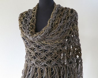 Shimmering Fringed Wrap Dark Khaki Gray Color Lacy Acrylic Wool Yarn Crochet Stole Evening Dress Shawl Scarf with Fringes Tassels