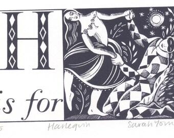 H is for Harlequin - Alphabet Silkscreen Print