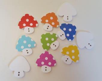 Set of 10 wooden mushroom buttons